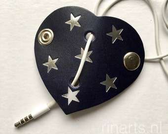 Earphone cord keeper / headphone cable organizer HEART in dark blue  veg tan. Heart with silver stars. Original RINARTS cord keeper.