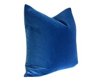 Marine Blue Velvet Designer Pillow Cover - Custom Made-to-Order