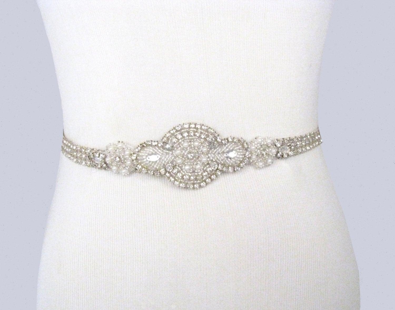 Unique Wedding Dress Sashes Belts: Bridal Sash Rhinestone Wedding Belt Crystal Pearl Dress