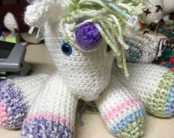 Crocheted  unicorn very lovable and soft