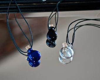 One Hand Blown Glass Bottle Pendant Hand Sculpted by Jenn Goodale