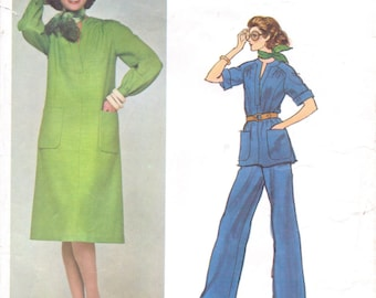 1970s Jerry Silverman Womens Shift Dress or Tunic & Wide Legged Pants Vogue Sewing Pattern 1242 Size 14 Bust 36 Vogue American Designer