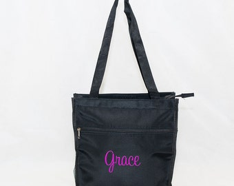 Personalized Tote Bag  | Custom Tote Bag | Monogrammed Tote Bag | Girls Gift Tote | Personalized Black Tote | Black Carry-on Bag |Black Tote
