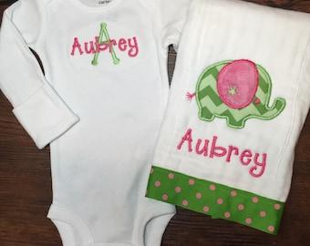 Monogrammed Baby Girl Gift Set, Monogrammed Onesie, Monogrammed Burp Cloth, baby girl monogram, baby girl gift set, monogram baby gift set