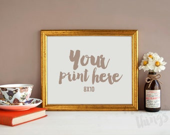 8x10 gold frame / Styled stock photography / Instant download / landscape frame