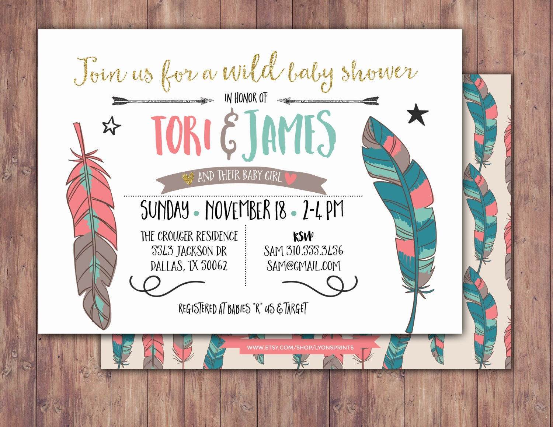 Tribal, Baby Shower Invitation, BOHO Baby shower Invite, feathers ...