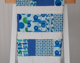 Modern Baby Quilt, Blue Baby Quilt, Baby Shower Gift, Zoo Animal Quilt, Lions Elephants Baby Blanket, Baby Boy Quilt, Modern Baby Bedding