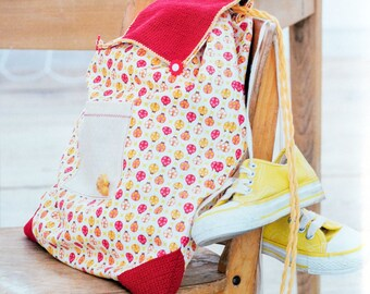 Tutorial bag for children with reinforcements crochet fabric