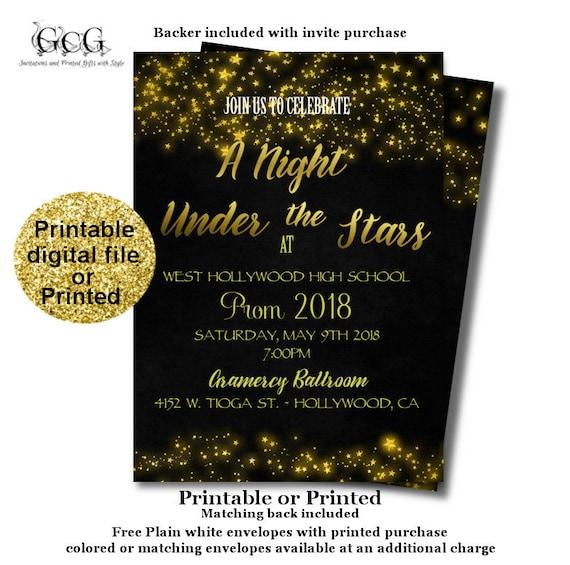 prom invitation under the stars prom night invite