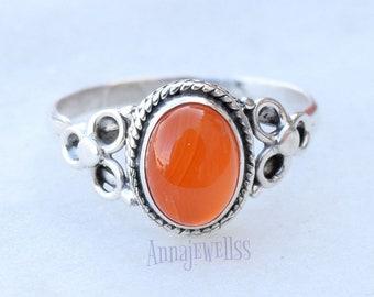 Carnelian Ring, Carnelian Stone Ring, Carnelian Silver Ring, Sterling Silver Ring, Red Stone Ring, Boho Ring, Gemstone Ring