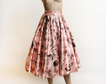 Vintage 1950s Skirt - Pink Cherry Tree & Floral Blossom Print Satin Full Skirt - Iridescent Garden Print - Tea Length Midi - Pocket - Small