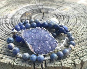 Ocean's Intuition crystal and gemstone magnetic wrap bracelet