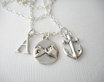 Pinky Promise, Anchor- Initial Necklace/ Sister, Pinky Swear, Gift Idea, Birthday Gift, bff jewelry, Personalized Friend, for bff