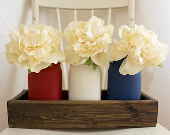 Hainted Painted Set of 3 Mason Jars with Hand Crafted Wooden Box~Painted Mason Jars~Home Decor~Mason Jar Decor