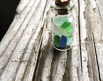 Tiny Sea Glass In a Bottle