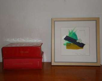 """Small Painting- Collage 5-mixedmedia-material-abstract-informal.Size 7.8 """"x7.8"""""""