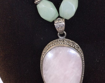 Vintage Sterling Silver Rose Quartz and Jade Necklace