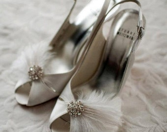 Wedding Shoe Clips, Feather Shoe Clips, Bridal Shoe Clips, Fancy Shoe Clips, MANY COLORS, Wedding Shoe Clips, Shoe Clips Ons, Bridesmaids