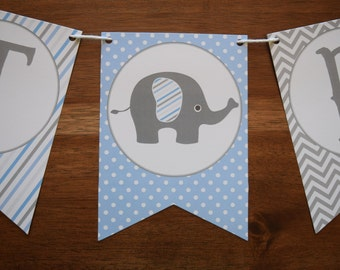 Elephant Baby Shower Decorations - Elephant Baby Shower Banner - Boy Baby Shower Banner - Elephant Pennant Banner - Elephant Decorations