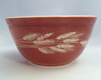 Vintage Corning Glass Pyrex Autumn Harvest Wheat 402 Mixing Bowl 1 1/2 Quart