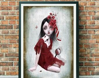 Big eyes | Broken girl | Digital painting | Wall Art | Creepy cute | Large print | Home decor | Big eyes girl