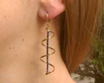 spiral gold earrings, evening gold jewelry, black spinel earrings, spinel drop earrings, Long black earrings, gold spinel earrings