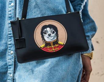Leather Clutch/Leather Bag/ Handmade Bag/ Handmade Clutch/ Clutch Bag/Hand Made/Hand Stitched/Personalised/Paiting Bag/Hand Paiting Bag