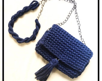 The Celest Crossbody Knit Shoulder Bag -Dark Blue