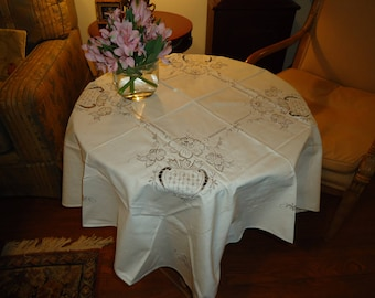 Vintage Ecru Tablecloth with Madeira Like Embroidery,  42 inch Square with 4 Napkins, Tea or Luncheon Set  New Store Stock