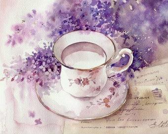 Watercolor lilac still life
