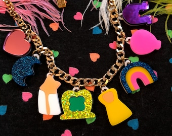 Colorful Lucky Charms Charm Necklace, Laser Cut Acrylic, Plastic Jewelry