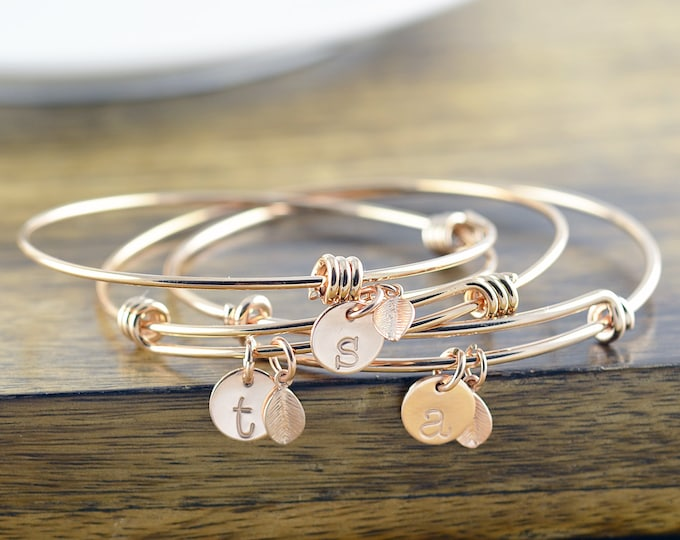 Rose Gold Bracelet - Personalized Initial Bracelet - Personalized Hand Stamped Bracelet - Bridesmaid Gift - Bridesmaid Jewelry