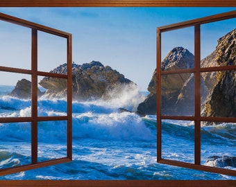 Wall mural window, self adhesive -open window view-3 sizes available-Pacifica Surf, California