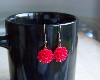 Ruby Red Dahlia Earrings