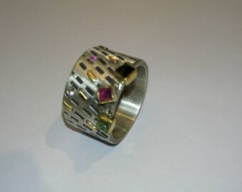 Handcrafted#silver#gold 18K# ring#tourmalines#ruby#brilliant