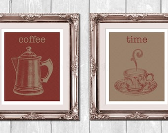 Vintage Coffee Pot and Cup 2pc. Set Designer Original 8 x 10 Art Prints Set - Red Taupe - Frame It Yourself