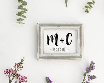 Wedding Monogram Stamp, Save the Date Stamp, Custom Initial Stamp, Wedding Stamp, Invitation Stamp - CW702