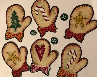 Little Country Folk Art Christmas Mittens - Iron On Fabric Appliques - Christmas