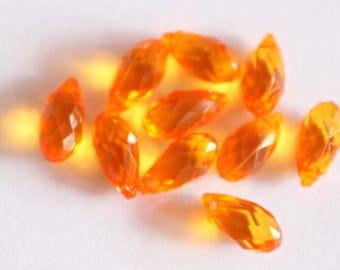 Acrylic drop, orange, 13 * 6 mm, set of 10 beads