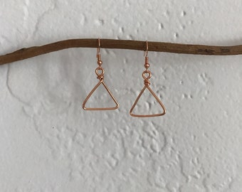 Boho small wire triangle earrings