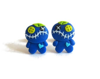 Voo Doo Doll, Voodoo Doll Earrings, Polymer Clay Earrings, Blue Earrings, Polymer Clay Earrings, Polymer Clay Jewelry, Scary Doll Earrings
