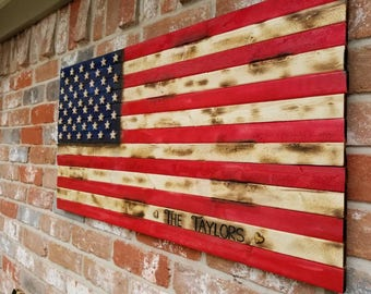 Burnt Wood, Painted U.S. Flag