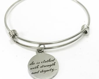 She Is Clothed With Strength And Dignity Expanding Bangle Charm Bracelet, Scripture Stacking Bracelet, Proverbs 31 25 Bible Verse Jewelry