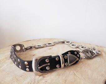 Vintage western black belt-90's