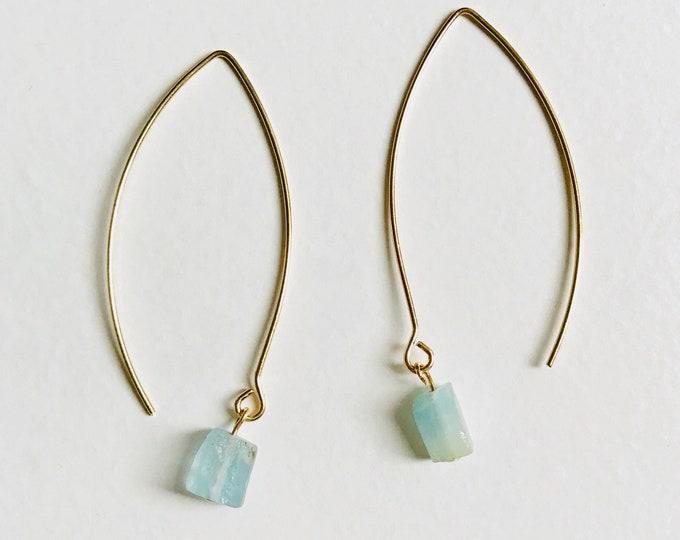 Aquamarine Threader Earrings - Gold Delicate Raw Crystal Birthstone Earrings Drops - Wedding Bridesmaid Boho Bridal Jewelry