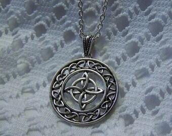 Celtic Knot  Antiqued Silver Pendant, Irish Scottish Celtic jewelry, Renaissance Celtic Cross Love Knot, Ireland, Scotland, St Patrick's Day