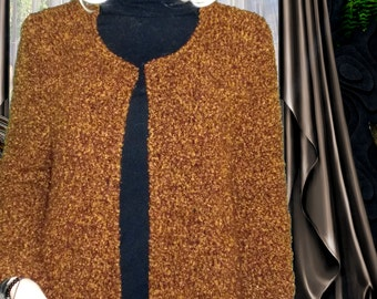 Hand knit   jacket,hand knit boucle jacket,knit boucle coat, knit coat,knit cardigan,hand knit boucle cardigan