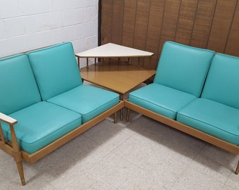Vintage Mid-Century 1950s Turquoise Naugahyde Sectional Sofa & Step Corner Table Set Retro Atomic Teal Couch MadMen Style Living-room Set