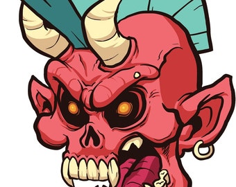 Vinyl Decal Slap Sticker Multi Color - Creepy Red Devil Skull with Teal Mowhawk (Tall)