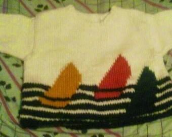 3/4 sleeve sweater acrylic sailboats for boy 3 x